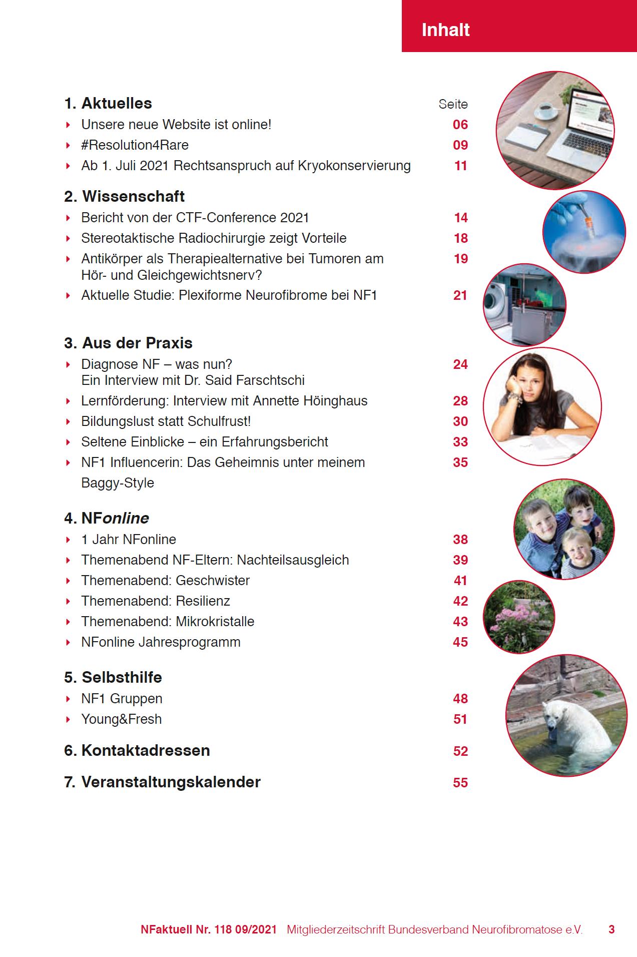 NFaktuell 118 Inhalt Mitgliederzeitschrift Bundesverband Neurofibromatose
